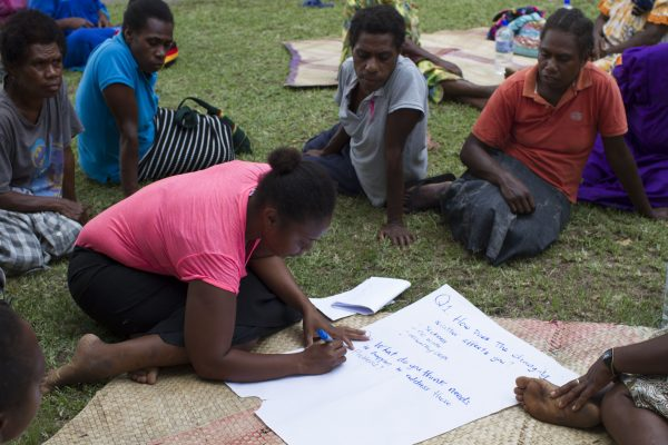 Women belonging to the Women I Tok Tok Tugeta Forum planning their response to climate impacts at a meeting in Tanna, Vanuatu in February 2018 (Credit: ActionAid)