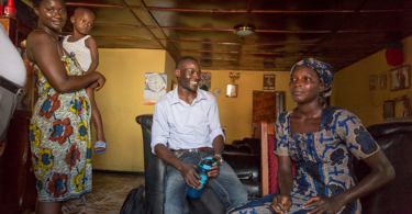 A home visit by a CBM community mental health programme worker in Sierra Leone (Credit: CBM)