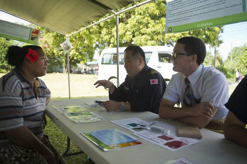 Discussing diabetes prevention at a health fair in Tonga during Pacific Partnership 2013 (US Pacific Fleet/Flickr/CC BY-NC 2.0)