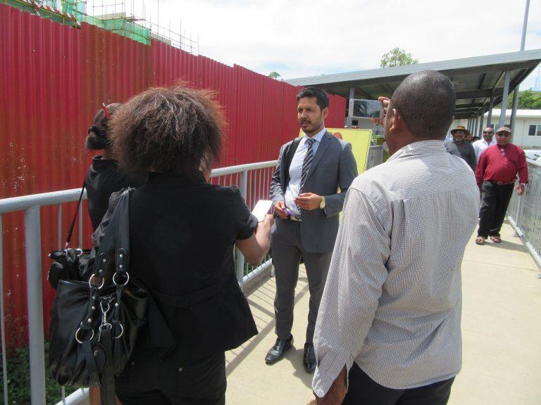 Madang MP Bryan Kramer talks to media after the hearing (Credit: Amanda H A Watson)