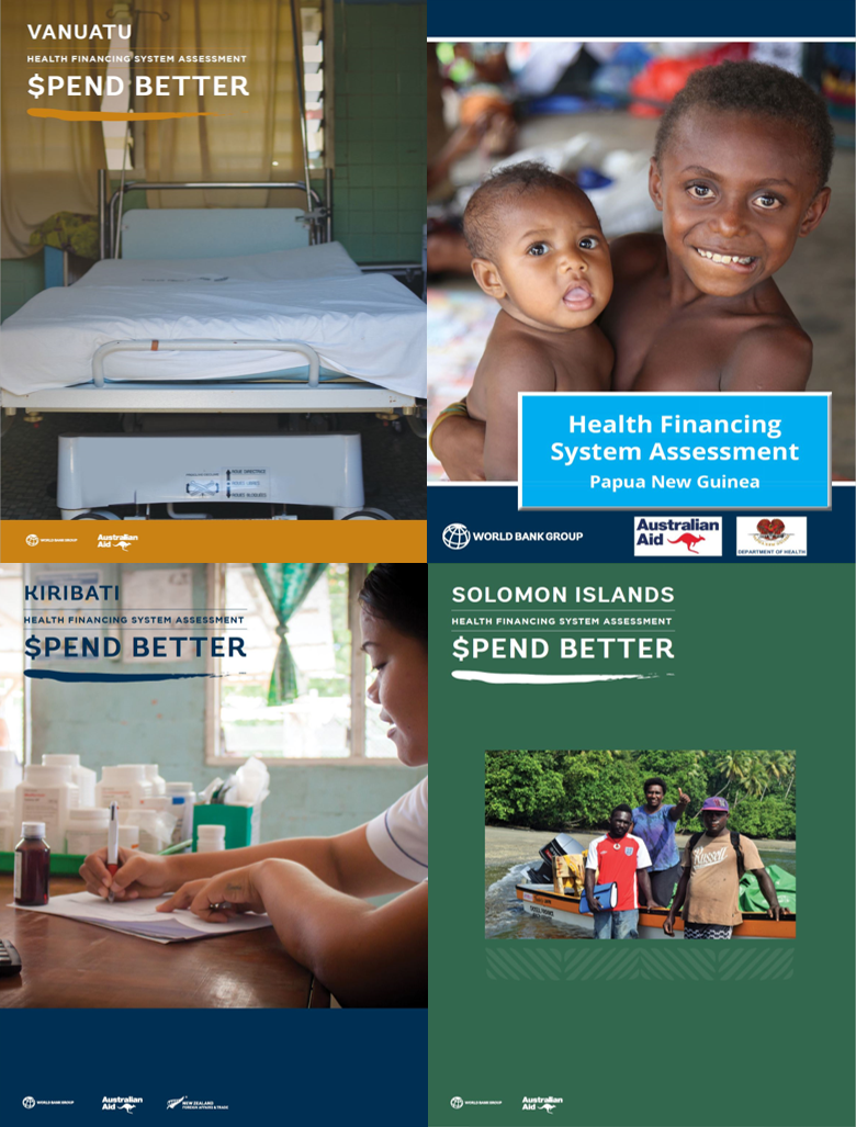 Covers of the World Bank Health Financial System Assessments