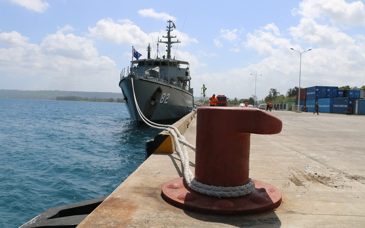 The Australian Navy's HMAS Huon docked at Luganville (Credit: RadioNZ)