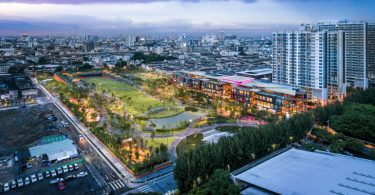 An aerial view of Chulalongkorn University Centennial Park in Bangkok at dusk (Credit: Landprocess)