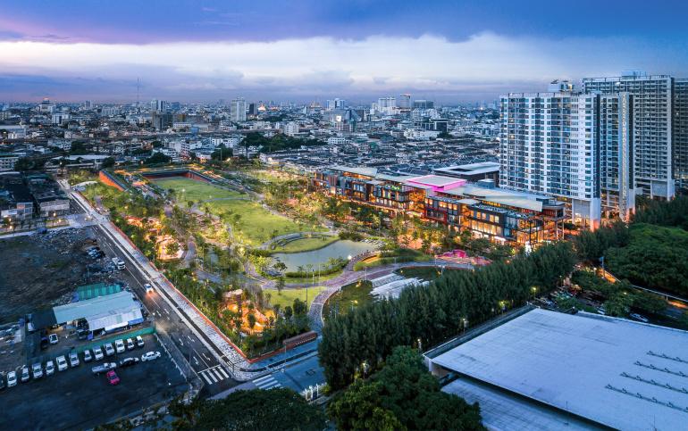 An aerial view of Chulalongkorn University Centennial Park in Bangkok at dusk (Credit: Landprocess)