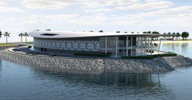 An artist's impression of PNG's APEC Haus (Credit: Jim Fitzpatrick Architects)