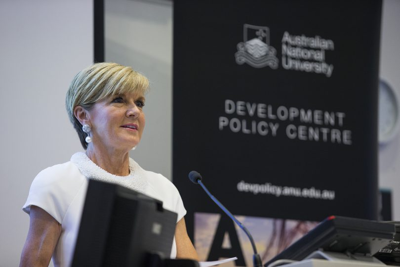 Julie Bishop speaking at the 2017 Australasian Aid Conference at ANU