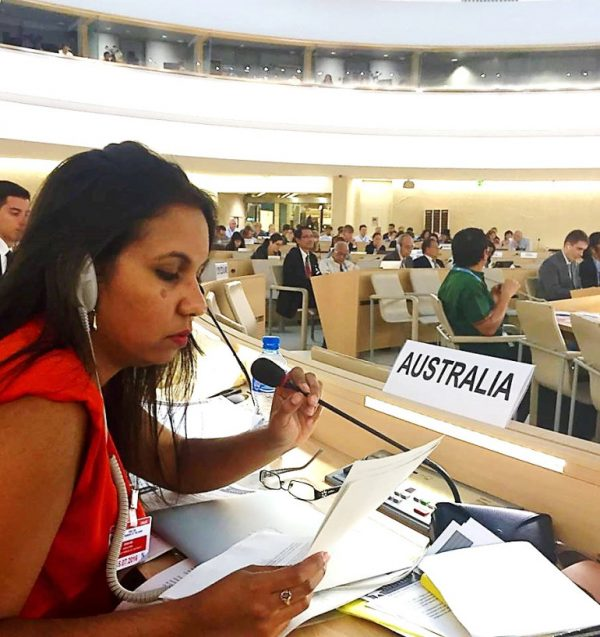 Sheena representing Australia at the UN Expert Mechanism on the Rights of Indigenous Peoples in Geneva, Switzerland (Credit: DFAT)