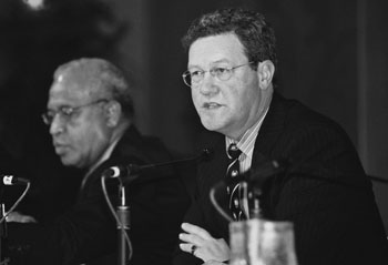 Alexander Downer (then Minister for Foreign Affairs) at the Pacific Islands Forum, seated with Kaliopate Tavola, then Fiji's Minister for Foreign Affairs (Credit: Sam Shepherd)
