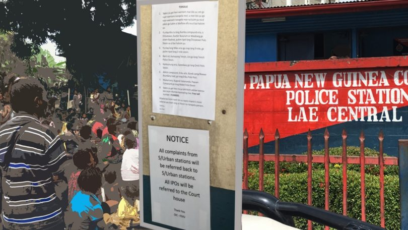 Women in the Biwat Settlement, a notice at the police station, and the Lae Central Police Station (Credit: Michelle N Rooney)