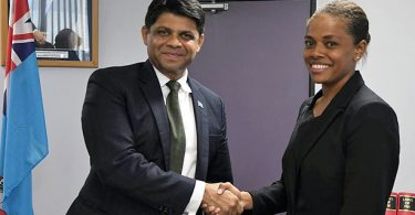 Anne Christine Dunn (right) has been appointed Commissioner of the Online Safety Act (Credit: Fiji Government)