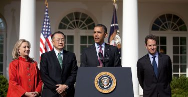 Former President Barack Obama announced Jim Yong Kim (second from left) as his nominee to head the World Bank in 2012 (Credit Sonya N. Hebert White House)