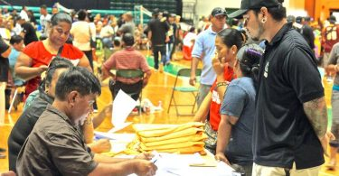 Voting for the FSM congressional election, at the University of Guam Calvo Field House in 2017 (Credit: Tihu Lujan/The Guam Daily Post)