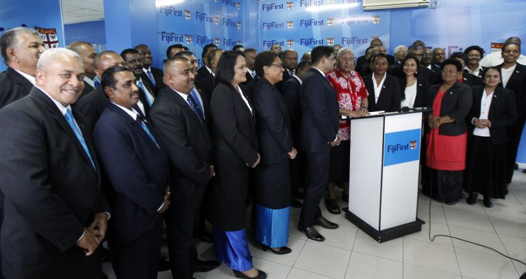 Prime Minister Bainimarama after announcing the FijiFirst candidates for the 2018 General Election (Credit: Atu Rasea/Fiji Times)