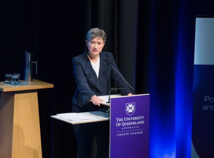 Senator Penny Wong giving the UQ 2019 Annual Lecture in Political Science and International Studies (Credit: UQ/Twitter)