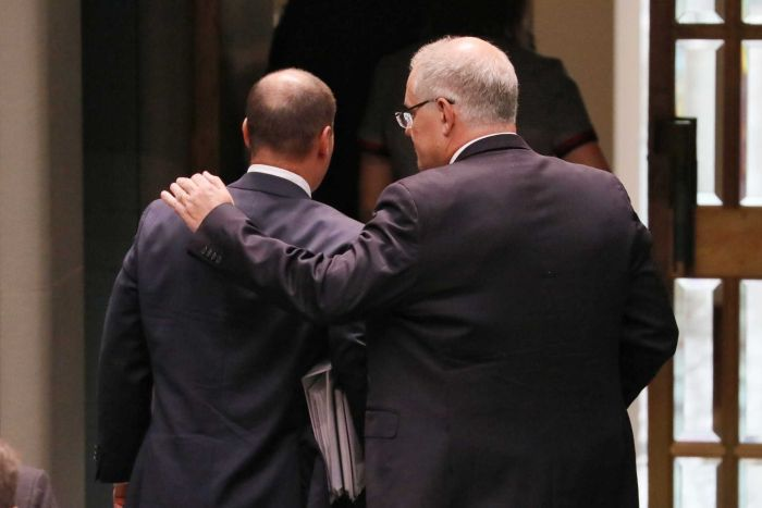 Australian PM (right) and Treasurer (left) (Credit: ABC News/Nick Haggarty)