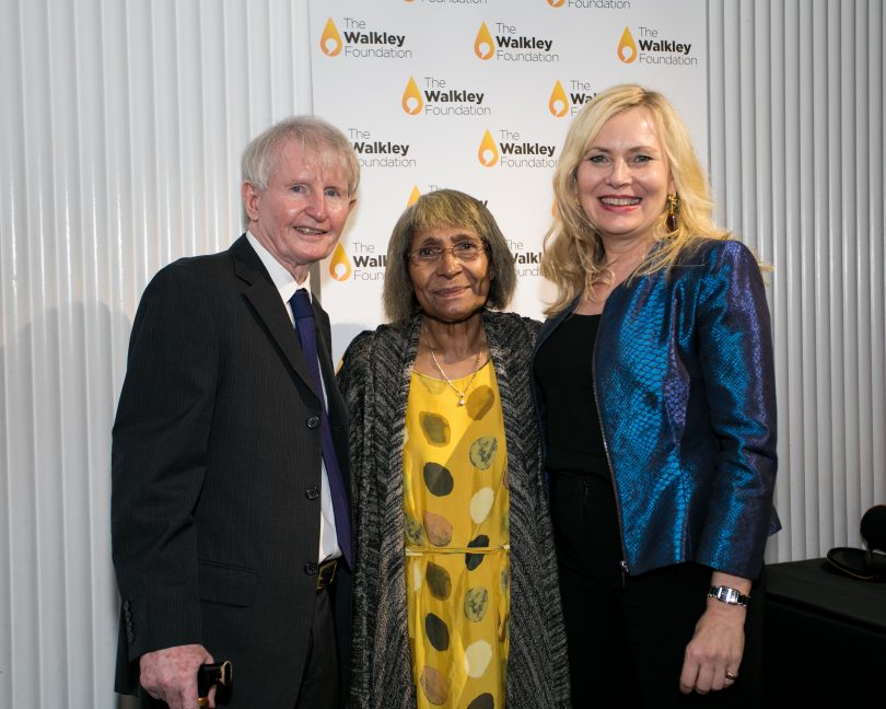 Sean and Pauline Dorney with Louisa Graham of the Walkley Foundation at the launch of the Sean Dorney Grant for Pacific Journalism (Credit: Walkley Foundation)