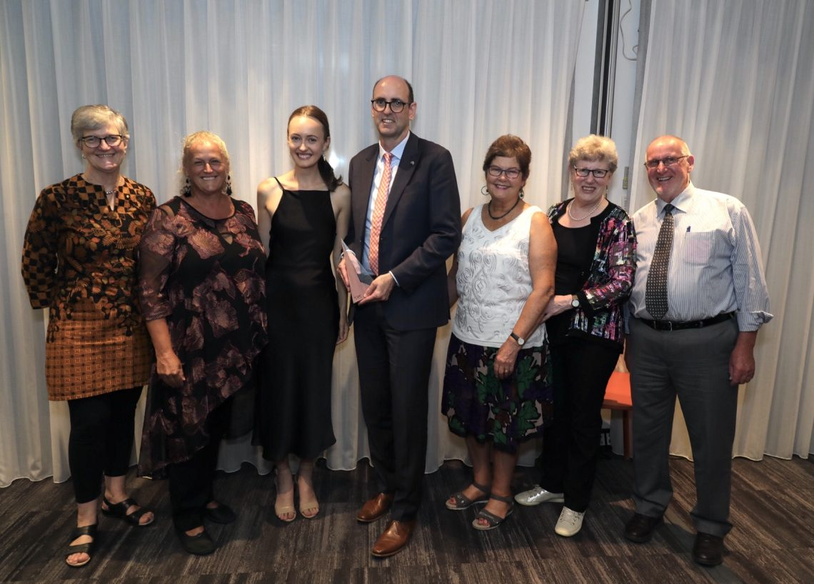 Marc Sullivan (centre), with from right: Robyn Alders (2017 winner), Sally Lloyd (shortlisted), Rachel Nunn, Good Will Hunters, Glenyys Romanes (shortlisted), Elizabeth Reid (2019 winner), Graham Romanes (shortlisted) (Credit: Alexandra Orme)