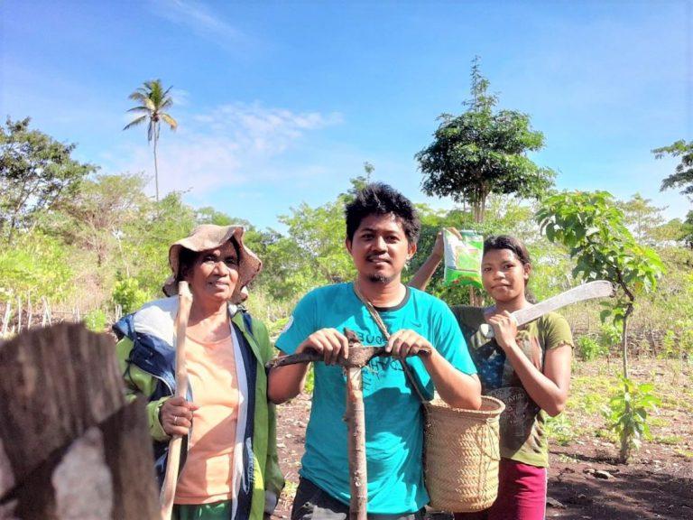 Akito and his family in Poros, Timor-Leste