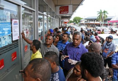 Crowds gathered outside the Fiji National Provident Fund office in Lautoka after the Budget announcement, ignoring social distancing (Credit: Fiji Times)