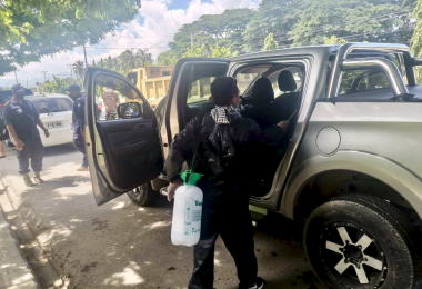 Timorese police disinfect cars in Dili (Credit: José Ramos-Horta/Facebook)