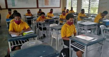 Grade 12 students at Port Moresby National High School (Credit: Malachi Wurr)