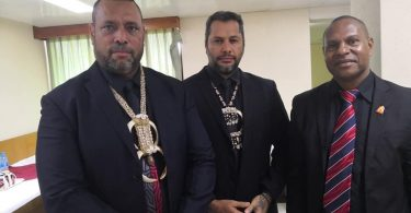 L–R: East Sepik Province Governor Allan Bird, Oro Governor Gary Juffa, Angoram MP Salio Waipo wearing black to raise awareness on ending violence against women (Photo credit: Namorong Report)