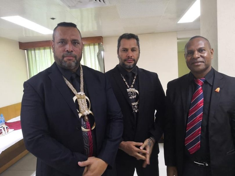 L–R: East Sepik Province Governor Allan Bird, Oro Governor Gary Juffa, Angoram MP Salio Waipo wearing black to raise awareness on ending violence against women (Photo credit: Namorong Report)