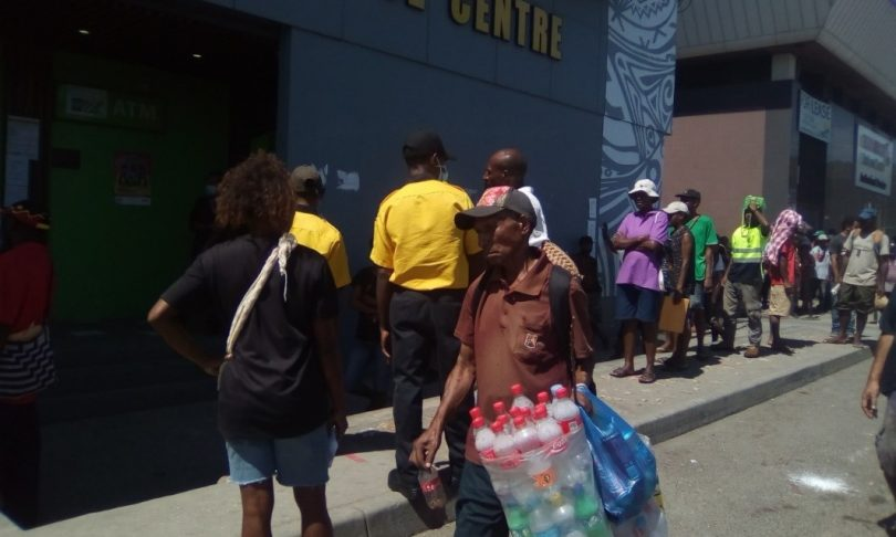 People queueing at the Nasfund Office to apply for unemployment benefits (Jotam Sinopane)