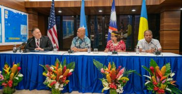 US Secretary of State Michael Pompeo with Micronesia President David Panuelo, Marshallese President Hilda Heine and Palauan Vice President Raynold Oilouch during his visit to the Federated States of Micronesia, August 2019 (Flickr/US Department of State/Ron Przysucha)