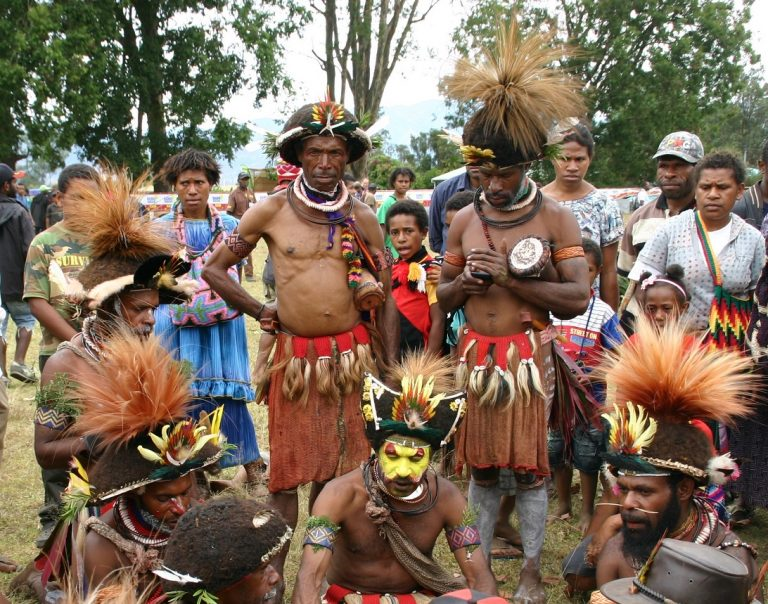 A mobile telephone in use at the Goroka show in 2015 (Lesley Watson)