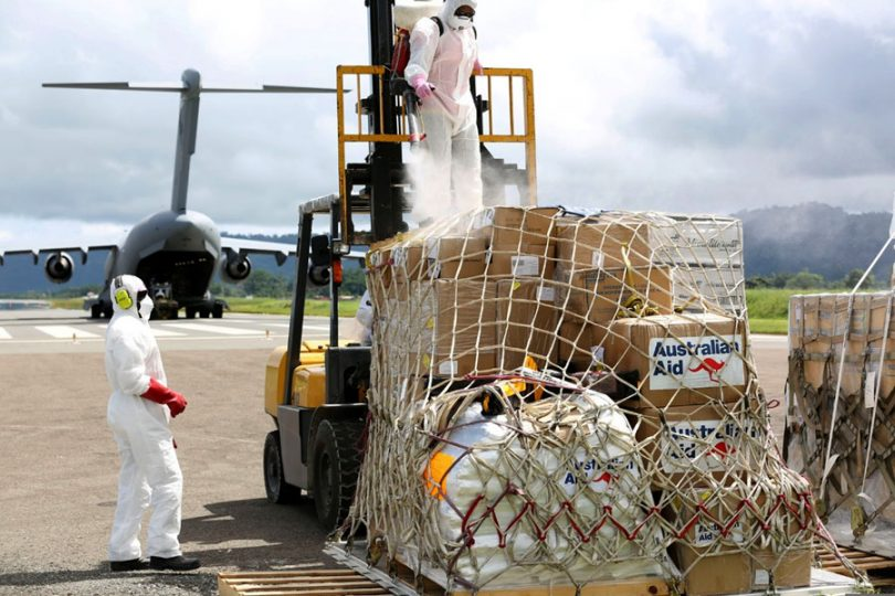 Humanitarian aid delivered to Port Villa, Vanuatu in support of the disaster relief efforts of the Government of Vanuatu (DFAT CC BY 3.0 AU)