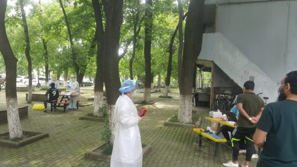The mandatory COVID-19 testing site outside the international students dorm in Wuhan (Varun Kapoor)