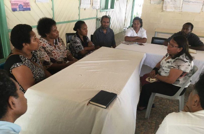 Ninti One's Senior Aboriginal Researcher, Sharon Forrester in discussion with PNG health workers at the Six Mile Clinic in Port Moresby