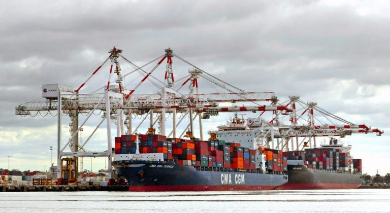 Container Terminal at Port of Melbourne, Australia