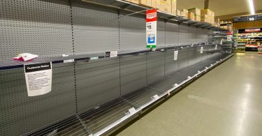 Empty shelves in a supermarket in Victoria, Australia
