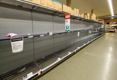 Empty shelves in a supermarket in Victoria, Australia