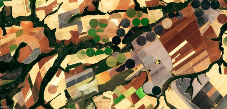 A satellite image of Soy Production in Mato Grosso, Brazil captured in 2017