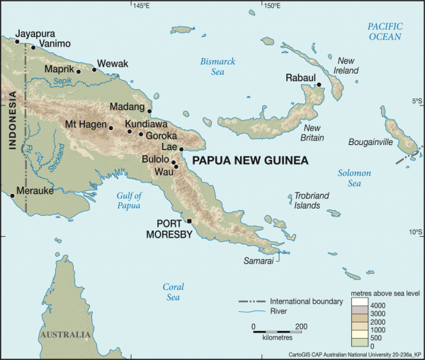 Modern PNG with major urban centres