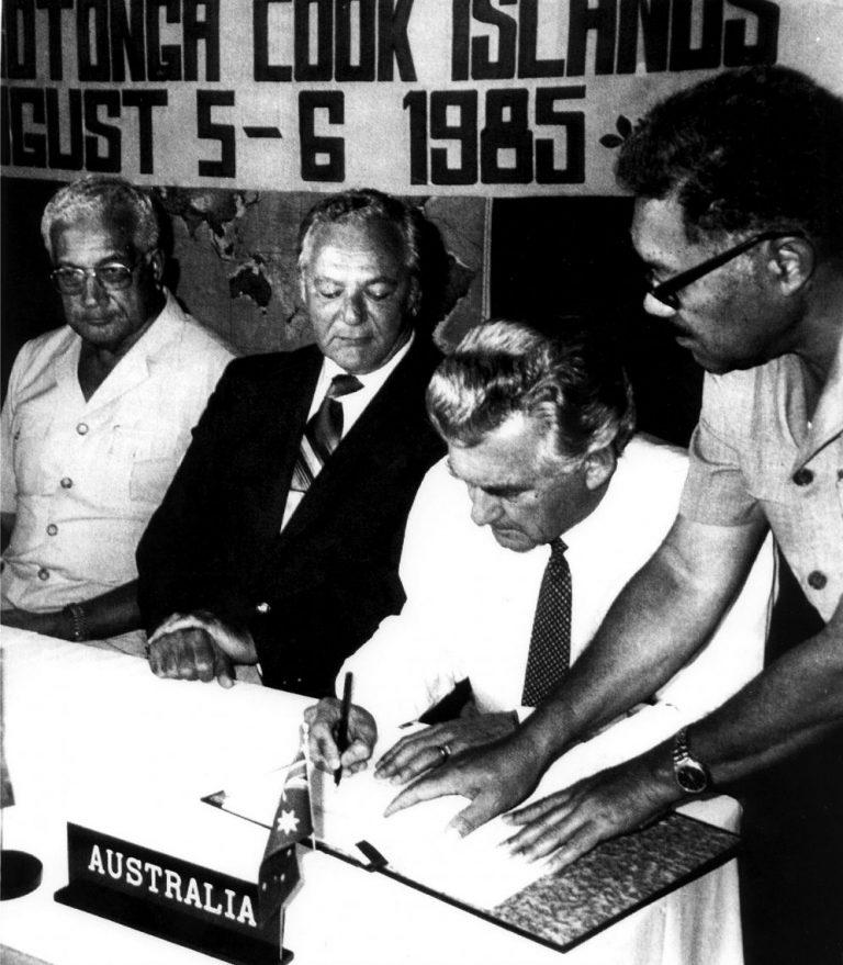 "PM Hawke signing the South Pacific Nuclear Free Zone Treaty (""Rarotonga Treaty"")"