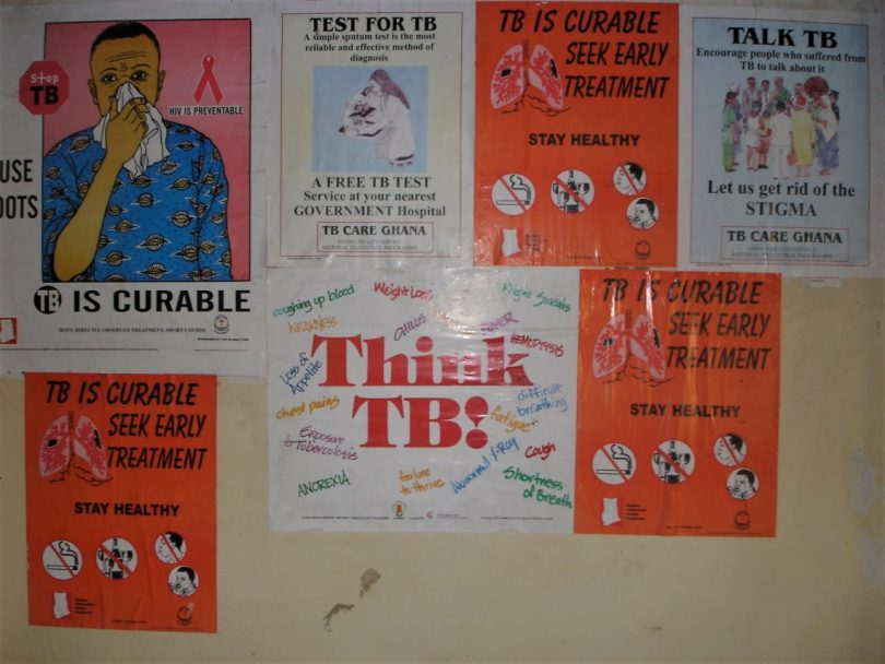 TB awareness posters at the TB/Chest Clinic at Korle-Bu Hospital, Ghana
