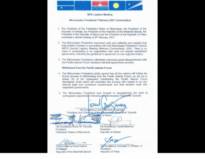 Micronesian Presidents' February 2021 Communique