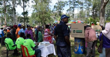Voting at Waghi, Banz, Jiwaka province, Papua New Guinea