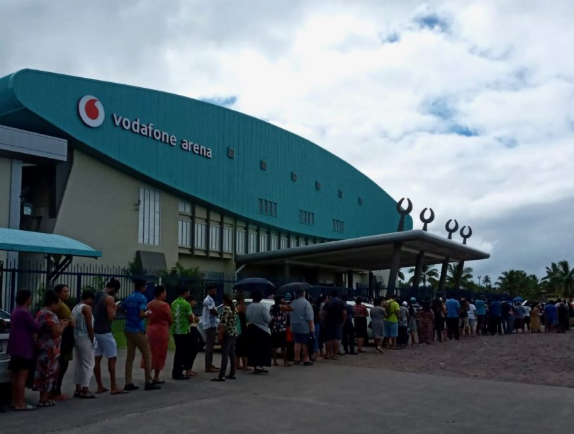 Thousands queue at Suva's biggest sports arena to get vaccinated days before announcements of second wave of community transmission