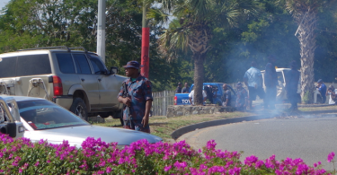 Police at the University of Papua New Guinea during the June 2016 protests