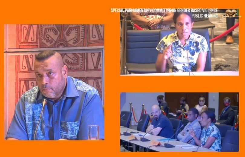 Denga Ilave speaking at the Gender-Based Violence Public Hearing