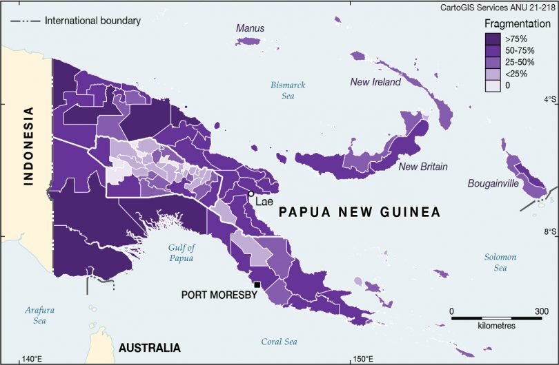 Linguistic fragmentation across PNG