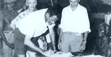 Signing the Arawa land lease documents in 1970