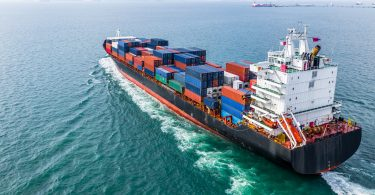Aerial view of cargo container ship