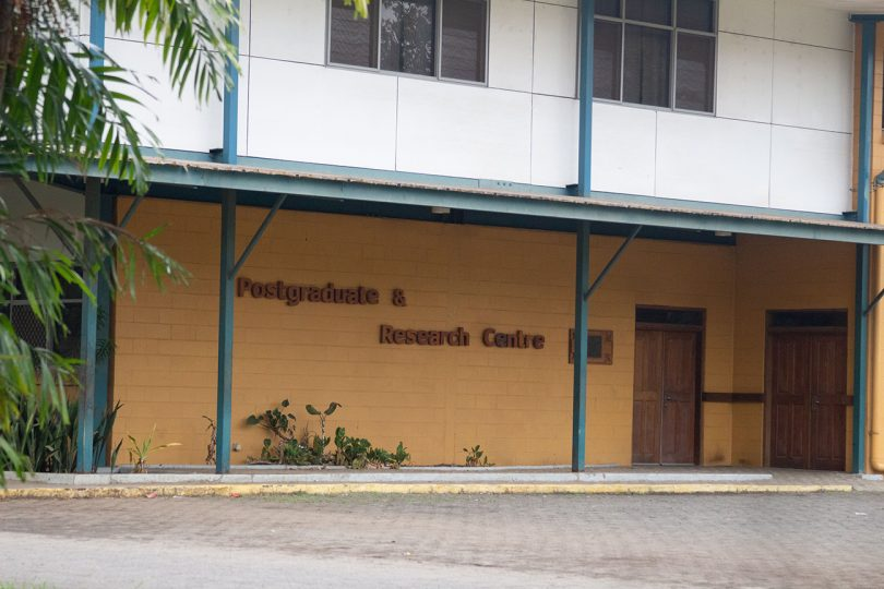 Photograph of exterior of the Postgraduate and Research Centre building at Divine Word University, Madang, PNG