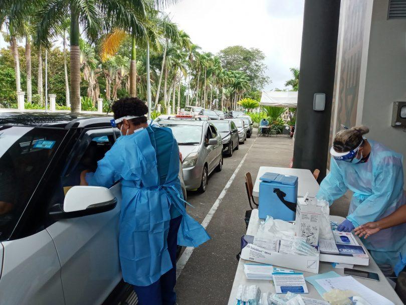 Photograph of drive-through COVID-19 vaccination in Suva, Fiji